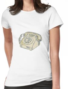 Telephone Vintage Etching Womens Fitted T-Shirt