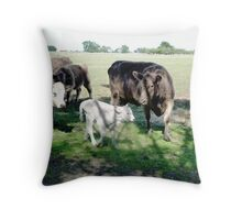 Friends come to say Moo to Casper Throw Pillow