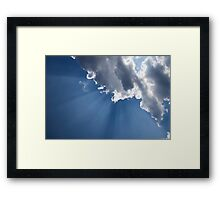 Blue Sky and Sun Rays Framed Print