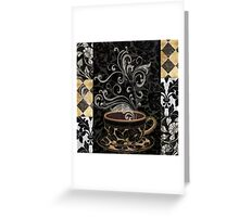 Cafe Noir I Coffee Damask Greeting Card