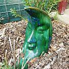 Mr. Moon -  Green Glass Garden Ornament by EdsMum