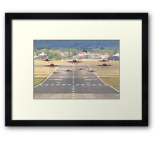 The Red Arrows Depart From Farnborough Framed Print