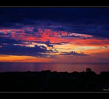 Sunset silhouette - Hallett Cove, South Australia by Cam Ayres