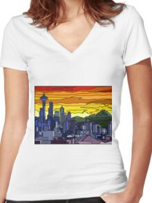 Seattle Pride Cityscape Women's Fitted V-Neck T-Shirt