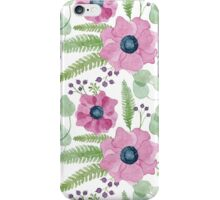 Pink watercolor anemones pattern iPhone Case/Skin