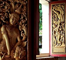 Buddhist Wood Carvings - Vientiane, Laos. by Tiffany Lenoir
