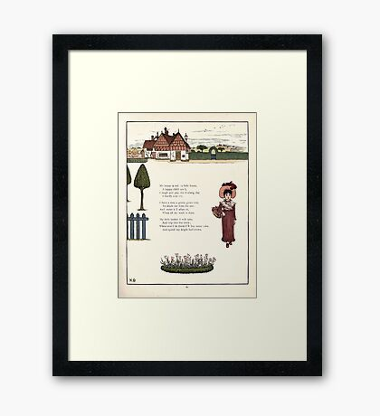 Under the Window Pictures and Rhymes for Children Edmund Evans and Kate Greenaway 1878 0065 Little Red House Framed Print