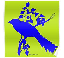 Blue Cuban Trogon silhouette Poster