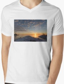 Greeting the Winter Sun on the Lake Mens V-Neck T-Shirt
