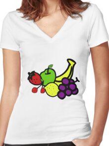 fruit salad Women's Fitted V-Neck T-Shirt
