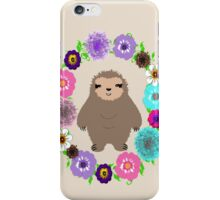 Cute Whimsy Sloth In Pretty Floral Wreath iPhone Case/Skin