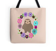 Cute Whimsy Sloth In Pretty Floral Wreath Tote Bag