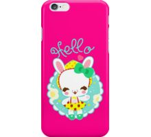 Cute kawaii little bunny say HELLO iPhone Case/Skin