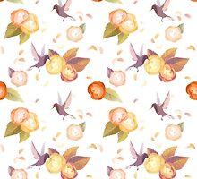 White Birds n' roses by SumiIllustrator