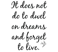 It Does Not Do To Dwel on Dreams Photographic Print