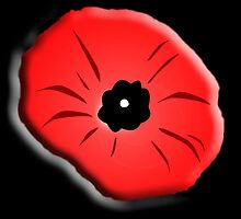 Poppy, Remembrance Day, Armistice Day, War, Soldier, on Black by TOM HILL - Designer