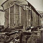 Polaroid neg stripping - Old Rail Carriage  by Malcolm Heberle
