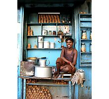 Indian tea boy in Kolkata, West Bengal Photographic Print