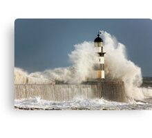 Waves Crashing Into A Lighthouse Canvas Print