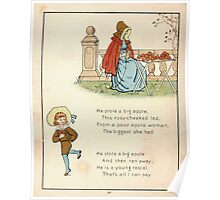 The Glad Year Round for Boys and Girls by Almira George Plympton and Kate Greenaway 1882 0040 He Stole a Big Apple Poster