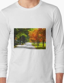 Trees and Autumn, Fall Leaves 2 Tilt Shift Long Sleeve T-Shirt