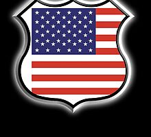 American Shield, America, American, Stars & Stripes, USA, Americana, Pure & Simple, on BLACK by TOM HILL - Designer