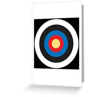 Bulls Eye, Right on Target, Roundel, Archery, Pop, Mod, on BLACK Greeting Card