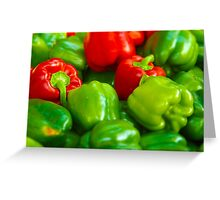 Green and Red Bell Peppers Tilt Shift Greeting Card