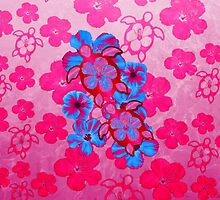 Pink Hawaiian Honu And Hibiscus by BailoutIsland