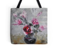 Roses in black vase Tote Bag