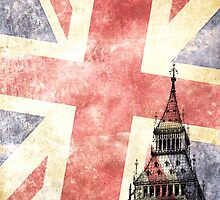 Big Ben with grunge UK flag by pifate