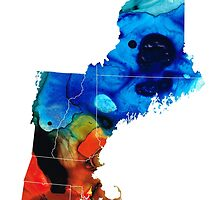 New England - Map By Sharon Cummings by Sharon Cummings