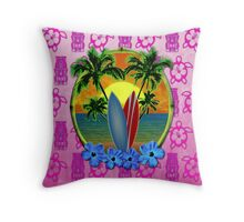 Pink Surfing Sunset Tiki Throw Pillow