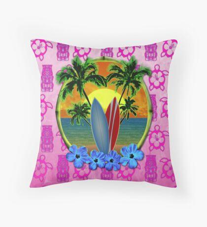 Pink Surfing Sunset Tiki Throw Pillow