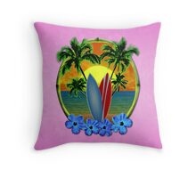 Pink Surfing Sunset Throw Pillow