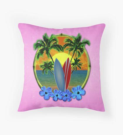 Pink Surfing Sunset Throw Pillow