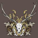 Deer Skull and Engraved Floral Detail by Denis Marsili - DDTK
