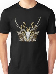 Deer Skull and Engraved Floral Detail T-Shirt