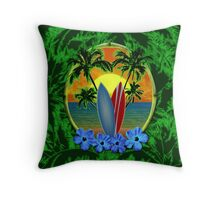 Surfboard Sunset  Throw Pillow