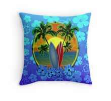 Surfing Sunset Honu Throw Pillow
