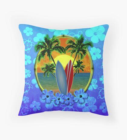 Surfing Sunset Honu Throw Pillow