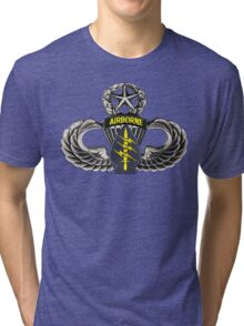 Special Forces patch on Master Jump Wings Tri-blend T-Shirt