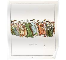 The Pied Piper of Hamlin Robert Browning art Kate Greenaway 0043 Merrily Running After Poster