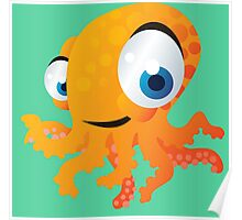 Yellow smiling octopus Poster