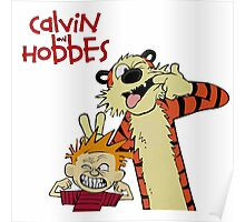 calvin and hobbes laughing together forever Poster