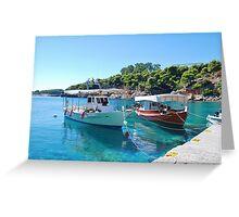 Rousoum harbour, Alonissos island Greeting Card