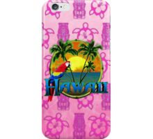 Hawaii Sunset Pink Tiki iPhone Case/Skin