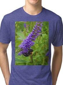 Honey Bee on Purple Flowers  Tri-blend T-Shirt