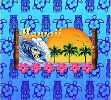 Hawaiian Surfing Blue Tiki by BailoutIsland