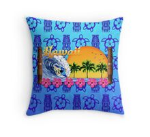 Hawaiian Surfing Blue Tiki Throw Pillow